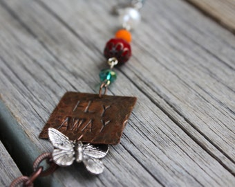 "Copper/Silver ""Fly Away"" Necklace"