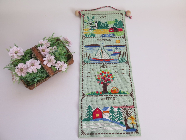 Wall Decor Cross Stitch : Swedish vintage wall hanging decor cross stitch