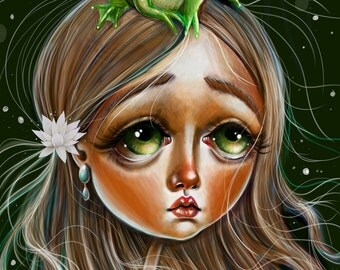 The Princess and the Frog Prince Art Print 8 x 11 Pretty Big eyed Girl Pop Surrealism Insect Lowbrow Big eyed girl Fairy Tale