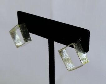 Geometric sterling silver textured post earrings
