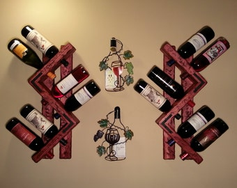 Set of 2 Wall wine racks. Holds 12 Bottles total.