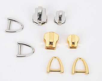 YKK Zipper Fastener Slider(Gold/Silver) 5pcs - 1set, Size 3/5, Slide with Triangular ring, Leather craft tool MLT-P00000QE