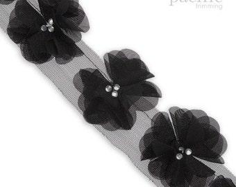 """3"""" Chiffon Flower Trim : 330070TR"""