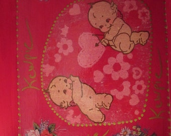 Wooden pattern KEWPIE hearts color pink and raspberry new