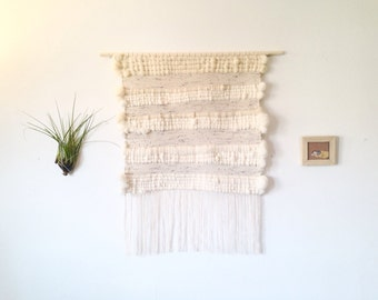 Extra large woven wall hanging, weaving, Roving, wool, on light wood dowel. Wall tapestry. Big wall hanging. Item #14