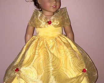 "Beauty and the beast Belle for 18"" doll gown"