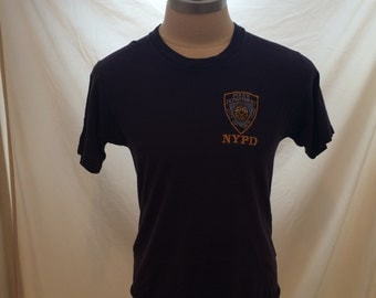 90s embroidered NYPD vintage tshirt, tag missing, soft, Made in USA