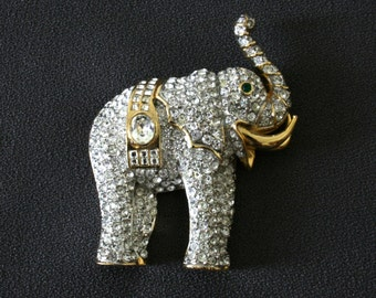 Vintage rhinestone elephant brooch, animal brooch pin, gift for Mom