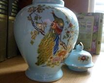 Japanese Peacock Ginger Vase Blue Gold Leafing 1960s 70s Stamped RED JAPAN