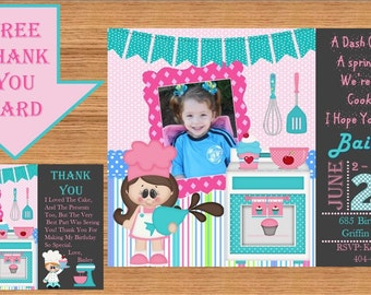 Baking Birthday Party Invitations, Cooking Birthday Party Invitation, Baking Thank You Cards, Baking Printable Invites, Product# Baking 0001