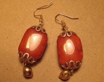 Orange and Gold Dangle Earrings