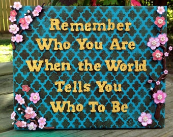 Hippie Gypsy Art Wall Decor ~Remember Who You Are ~ Mixed Media Collage Canvas Quote