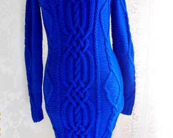 NEW!!Blue knitted dress with braids and Arana