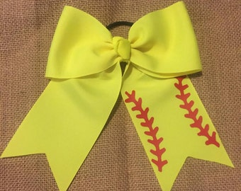 Softball Themed Hair Bow with 3 inch Ribbon