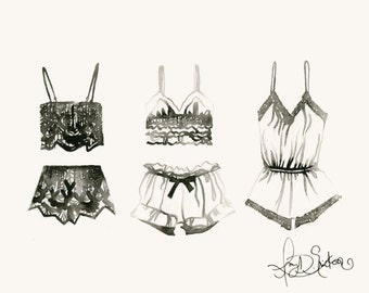 Giclée Art Print, Undergarments in black and white ink sketch