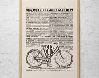 ANTIQUE BICYCLE AD - Old Bike Poster, Old 1902 Bike Ad Print, Antique Bike Poster, Quality Reproduction Ikea Ribba Size Giclee Print