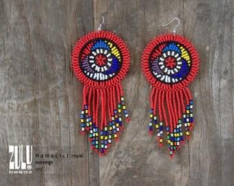 NAMACICI royal - Zulu Beaded Earrings - RED