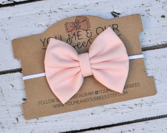 Pink Bow Headband; Solid Light Pink Fabric Bow and White Elastic Headband; Baby, Toddler, or Girl's Headband