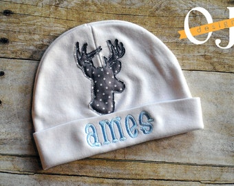 Personalized Baby Boy Deer Newborn Baby Hat - Appliqued Newborn Hat -  embroidered - Newborn Hat - Infant Hat - Baby Hat - Hospital Hat