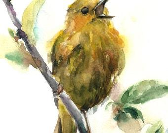 Watercolor Print of Yellow Warbler, Bird Watercolor Painting, Bird Art