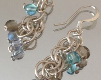 Crystals and Silver Rings Dangle Earrings