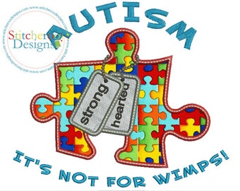Autism Strong Hearted Applique Design -In Hoop sizes 4x4, 5 x 7, - Instant Download - for Embroidery Machines