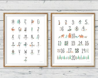 Woodland Animal Poster Wall Art, set of 2, Woodland Nursery Wall Art, Woodland Wall Art, Woodland Nursery, Alphabet and Numbers wall art