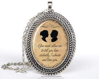 Pride and Prejudice You Must Allow Me Quotation Large Cameo Necklace -  Handmade