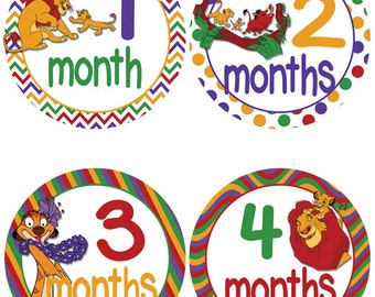 Lion King Themed Baby Milestone Stickers - First Year Stickers - Monthly Onesie Stickers (497)