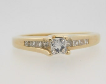 0.50 Carat T.W. Princess Cut Diamond Engagement Ring 14K Yellow Gold