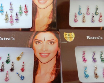 4 Packs MultiColor Bindi face jewels Self Adhesive Indian Bollywood Belly Dance,Forehead decoration bindi USA- D4