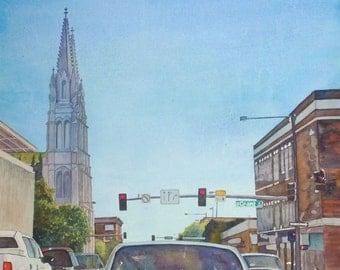Denver, Colorado Watercolor Print. Denver painting. Watercolor city. Denver skyline. Watercolor cars. Denver wall art. Denver picture.