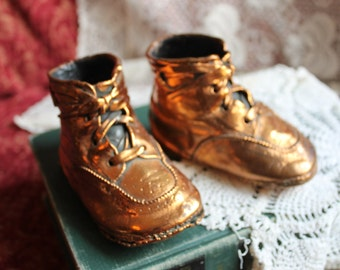 Vintage Copper Coated Baby Shoes