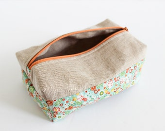 Boxed Cosmetic Bag | Small Floral Boxed Make-up Pouch by Shannon Fraser Designs
