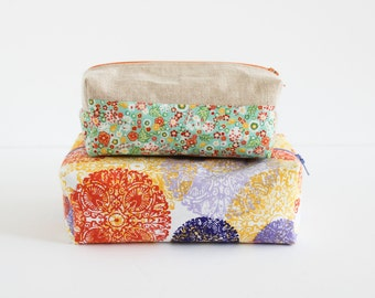 Toiletry Bag | Boxed Cosmetic Bag Graphic Circle Print | Shannon Fraser Designs