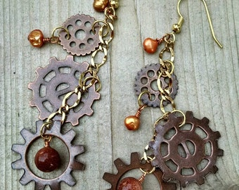 Copper and gold pearl/goldstone steampunk earrings