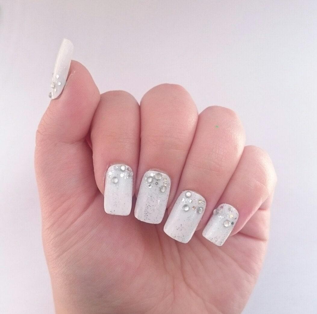 rhinestone wedding nails white false nails by. Black Bedroom Furniture Sets. Home Design Ideas
