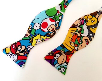 Super Nintendo Bow Tie Self Tie Bowtie Boy Men Extra Long Super Mario Donkey Kong Yoshi Bowser Gamer Geekery Wedding Necktie Pocket Square
