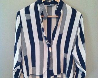 Vintage Silk Striped Blouse