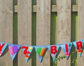Reserved for Isabella. Felt bunting Happy Birthday banner