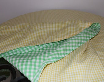 Reversible Handmade Round Checkered Tablecloth LOWERED PRICE