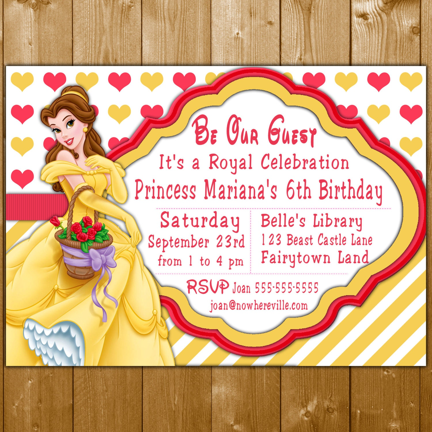 Belle Invitation, Disney Princess Belle Party Invitations ...
