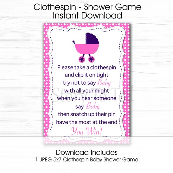 baby shower clothespin game sign 5x7 instant download pink and