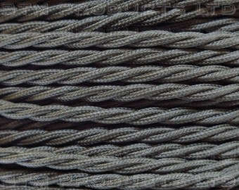 1m Vintage Grey Braided TWISTED Fabric Cable Lighting Flex. 3 Core 3 Amps.