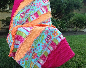 Hot Pink and Orange Owl Quilt