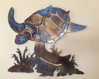 Underwater Sea Turtle Metal Wall Art Decor