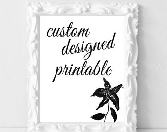 Custom Designed Print Wall Art Birthday Wedding Anniversary Bridal Shower Gift