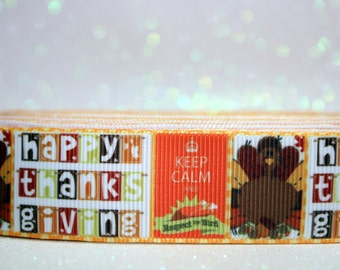 "CLEARANCE...1"" Thanksgiving Ribbon - Turkey Ribbon"