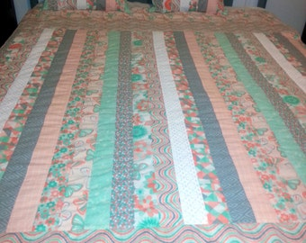Lovely striped quilt with butterflies