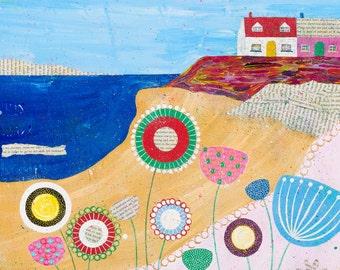 Beach art, beach giclee print, beach painting, coastal art, floral art, coastal cottages, Summer art, whimsical art, collage, Sandy Haven.